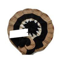 Italmaglia basco a righe zig zag con rose - 100% pura lana