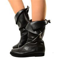 KikkiLine stivali donna apribili al polpaccio in vera pelle con zip lunga
