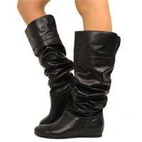 KikkiLine cuissardes stivali al ginocchio con risvolto in pelle nera