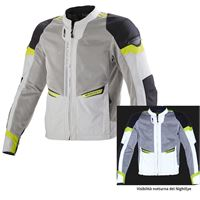 Macna giacca moto estiva Macna event night eye grigio chiaro giallo fluo