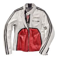 Dainese 72 giacca moto pelle dainese72 toga72 bianco rosso