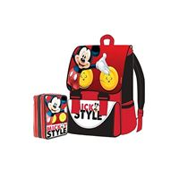 DISNEY mickey mouse - kit zaino estensibile + astuccio 3 zip