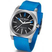 Locman stealth / orologio uomo / quadrante carbonio nero / cassa acciaio e titanio / cinturino gomma azzurra
