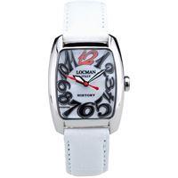 Locman history / orologio donna / quadrante madreperla bianca / cassa acciaio / cinturino pelle bianca