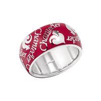 Chantecler / et voilà / anello fascia media / argento e smalto rosso