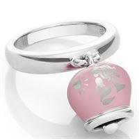 Chantecler / et voilà / anello campanella double face / argento e smalto rosa, con sirena sul retro