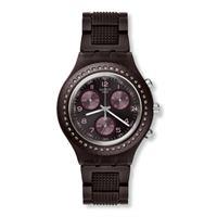 Swatch / irony / tobacco scent / orologio unisex / quadrante viola / cassa plastica / bracciale alluminio