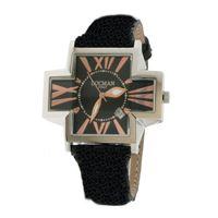 Locman big plus lady / orologio donna / quadrante nero / cassa acciaio / cinturino pelle nera