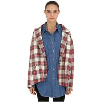 PUSHBUTTON giacca in denim e tartan