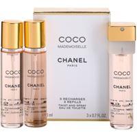 Chanel coco mademoiselle eau de toilette (3x ricariche) da donna 3x20 ml