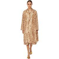 ROCHAS cappotto in taffetà di seta leopard
