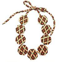 Collana girocollo flow-ers con pastiglie ottagonali in seta colore marrone+arancio