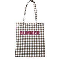 Shopping bag sud in cotone quadretti vichy marrone e bianco con scritta glitter fucsia summer