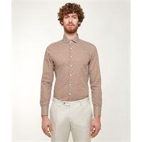 Lanieri camicia da uomo su misura, canclini, seventies arancione, quattro stagioni