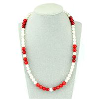 Collana argento 925 perle bianche corallo bamboo | pearl rouge