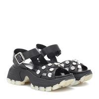 Miu Miu sandali in pelle con cristalli