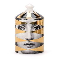FORNASETTI candela fornasetti gold losanghe in porcellana