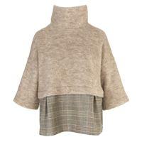 BIONEUMA abbigliamento donna maglia beige / principe di galles BIONEUMA