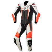 Alpinestars tuta moto pelle intera racing Alpinestars motegi v3 nero bianco rosso fluo