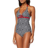 Pour Moi?Starboard underwired halter swimsuit nuoto, nero (black/deep red black/deep red), 2e (taglia produttore: 32dd) donna