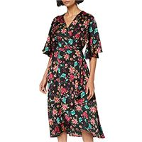 Liquorish black floral polka dot wrap midi dress vestito, multicolore (multicolour multicolour), 44 (taglia unica: 12) donna