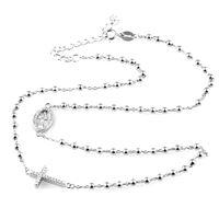 Gioielleria Bucci collana unisex rosario con croce in argento 925 rodiato oro bianco con zirconi