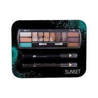 2K night & day tonalità sunset confezione regalo palette ombretti 8,16 g + matita occhi 0,6 g black + matita occhi 0,6 g brown