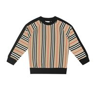 Burberry Kids felpa lance a righe in cotone