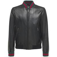 GUCCI giacca in pelle con dettaglio web