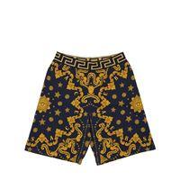 VERSACE shorts in felpa di cotone stampa barocca