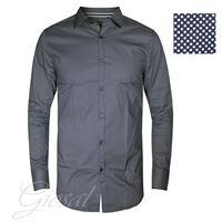 Altri Designer camicia uomo bottoni pois blu bicolore colletto manica lunga casual