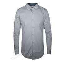 Altri Designer camicia uomo classica colleto casual pois fantasia blu bottoni slim