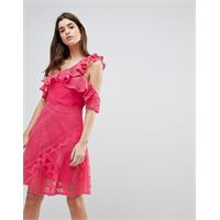 Three Floor - vestito monospalla in pizzo con ruches-rosa