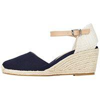 find. marchio amazon - find. wedge close toe canvas sandalo espadrillas con zeppa, blau (blue), 39 eu