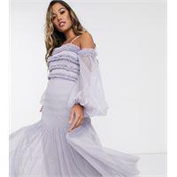 Lace & Beads - vestito lungo lilla grigio con volant, scollo bardot e maniche a palloncino trasparenti