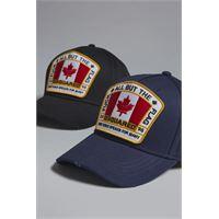 Dsquared2 uomo cappello blu scuro taglia one. Size 100% cotone