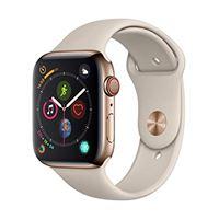Apple watch series 4 (gps + cellulare) cassa 44 mm in acciaio inossidabile color oro e cinturino sport grigio pietra