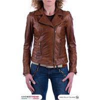 Leather Trend Italy violetta - giacca donna in vera pelle colore cuoio oil vintage