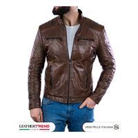 Leather Trend Italy attila - giacca uomo in vera pelle colore cuoio oil vintage