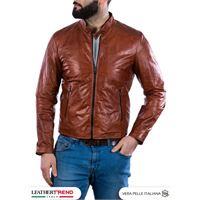 Leather Trend Italy u09 - giacca uomo in vera pelle colore cuoio oil vintage