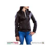 Leather Trend Italy vanessa - giacca donna in vera pelle colore testa di moro invecchiato