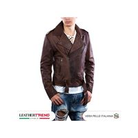 Leather Trend Italy chiodo uomo - giacca in vera pelle colore testa di moro invecchiato