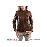 Leather Trend Italy michelina - giacca donna in vera pelle colore marrone invecchiato