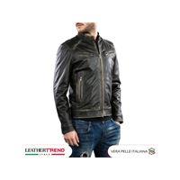 Leather Trend Italy u06 - giacca uomo in vera pelle colore nero asportato