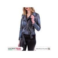 Leather Trend Italy chiodo donna - giacca in vera pelle con cintura colore azzurro