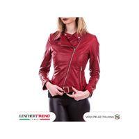 Leather Trend Italy chiodo donna - giacca in vera pelle con cintura colore rosso