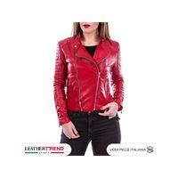 Leather Trend Italy chiodo roma - giacca donna in vera pelle colore rosso morbida