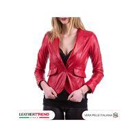 Leather Trend Italy classic 712 - giacca donna in vera pelle colore rosso morbida