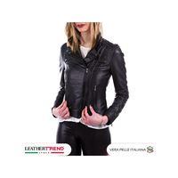 Leather Trend Italy chiodo martina - giacca donna in vera pelle colore nero morbida