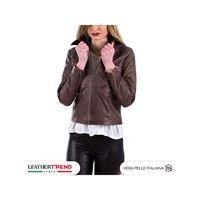 Leather Trend Italy nolita - giacca donna in vera pelle colore marrone invecchiato